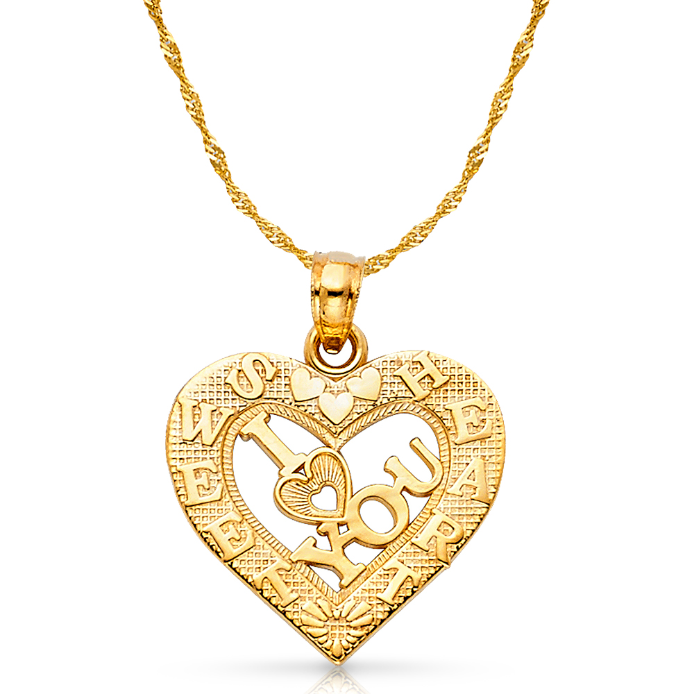 14K Yellow Gold Jesus Charm Pendant with 1.2mm Singapore Chain Necklace