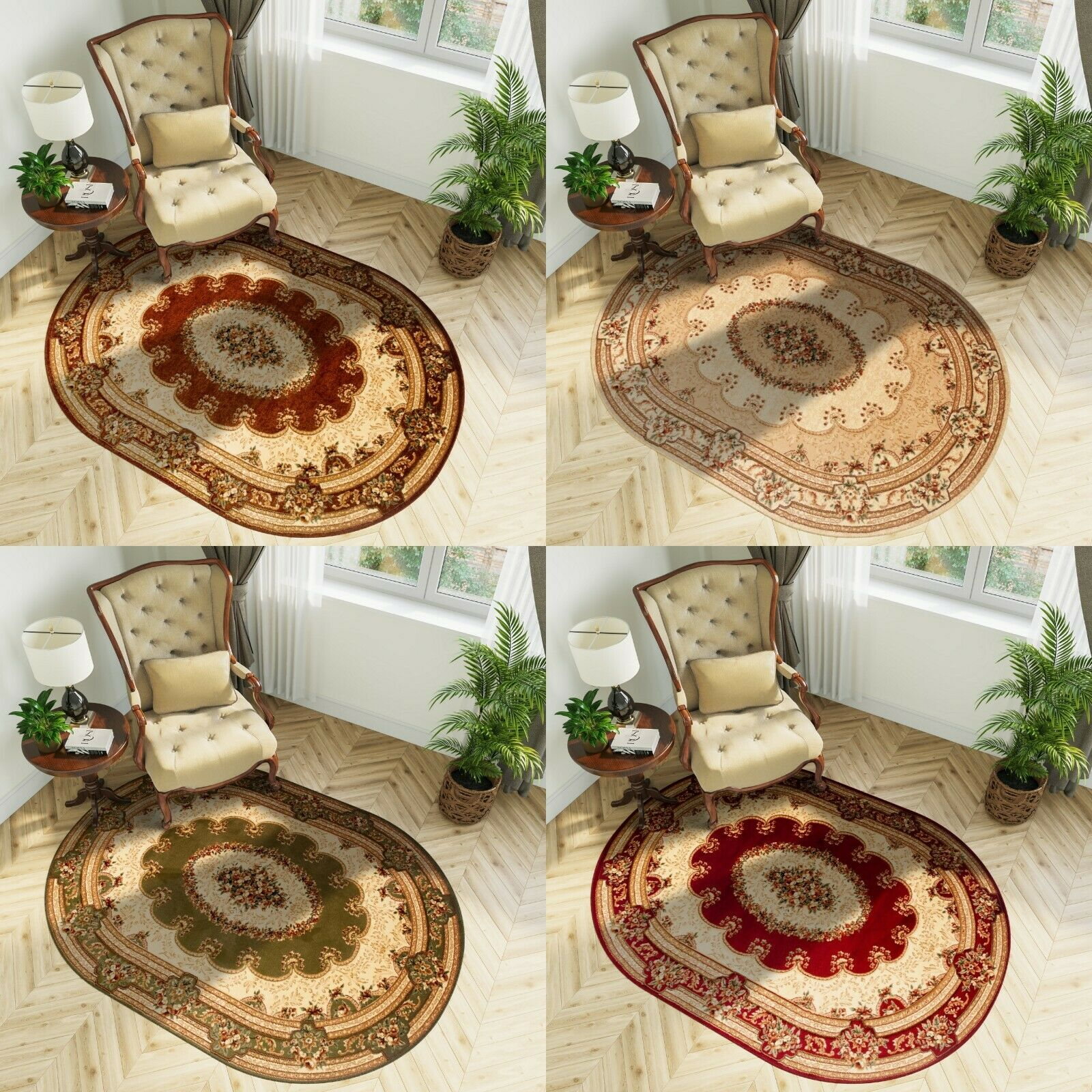 Brown Cream Green Red Traditional Oval Rugs Living Room Soft