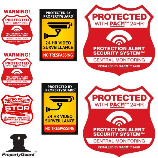 4 SECURITY DECAL STICKER 24 hour VIDEO SURVEILLANCE System Property Warning