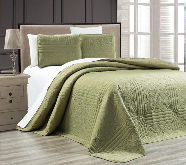 Full Queen Cal King Solid Sage Green 3 pc Quilt Set Coverlet Bedspread Bedding
