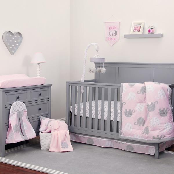Details About Pink Gray Elephant 8pc Crib Bedding Set Baby Girl Nursery Blanket Diaper Stacker
