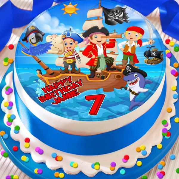 Magnificent Pirate Ship Happy Birthday Personalised 7 5 Inch Edible Cake Birthday Cards Printable Riciscafe Filternl