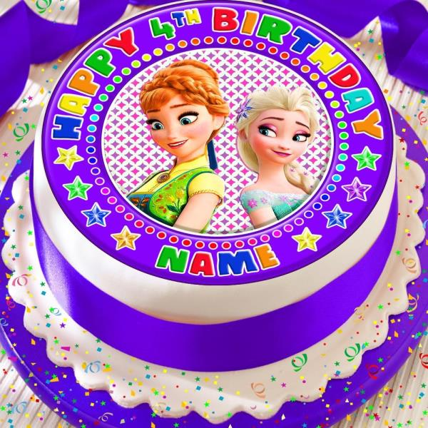 FROZEN CHARACTERS PERSONALISED ELSA ANNA PRECUT EDIBLE BIRTHDAY CAKE TOPPER