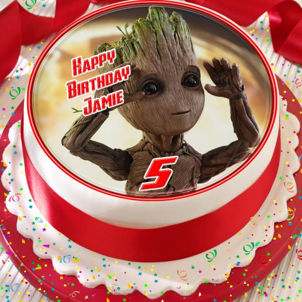Amazing Groot Avengers Birthday Personalised 7 5 Inch Edible Cake Topper Birthday Cards Printable Trancafe Filternl