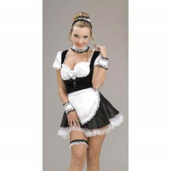 DELUXE FRENCH MAID KIT HEADPIECE CHOKER APRON WRISTLETS COSTUME ACCESSORY