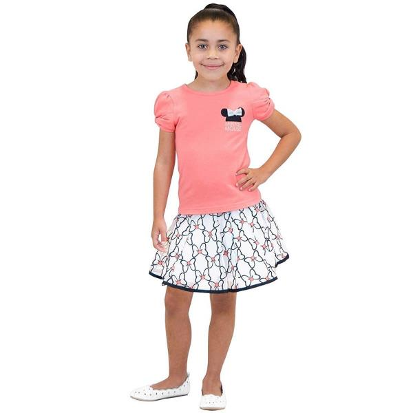 NEW DISNEY CHARACTER EMBROIDERED MINNIE MOUSE GIRLS 2 PIECE SKIRT SKORT SET
