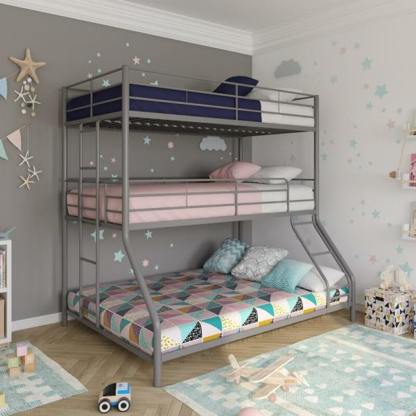 Silver Gray Grey Finish Metal Triple Bunk Bed Twin Over Full Frame Sleeps 3 Kids Ebay