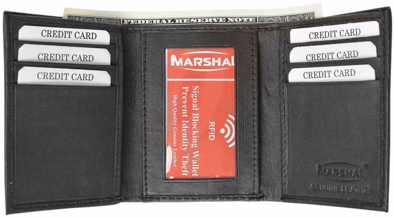 Marshal RFID Blocking Mens Trifold Wallet Leather ID Bill Holder Card Case