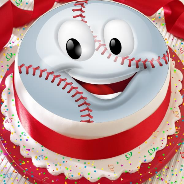 Brilliant Baseball Emoji 7 5 Inch Precut Edible Happy Birthday Cake Topper Personalised Birthday Cards Epsylily Jamesorg