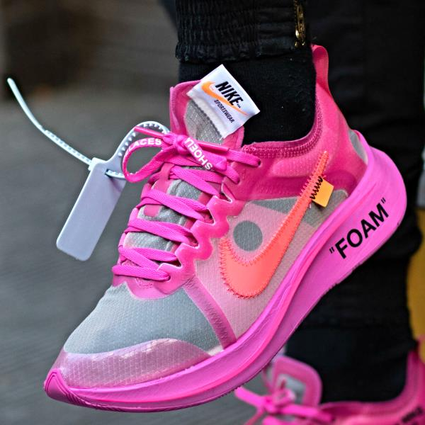 Off White™ x Nike Zoom Fly 'Tulip Pink' and 'Black'