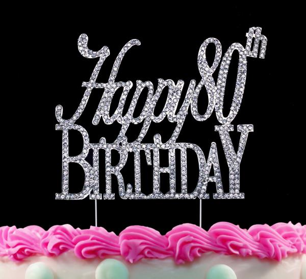Wondrous 80Th Birthday Cake Toppers Happy 80Th Birthday Silver Crystal Cake Funny Birthday Cards Online Aboleapandamsfinfo