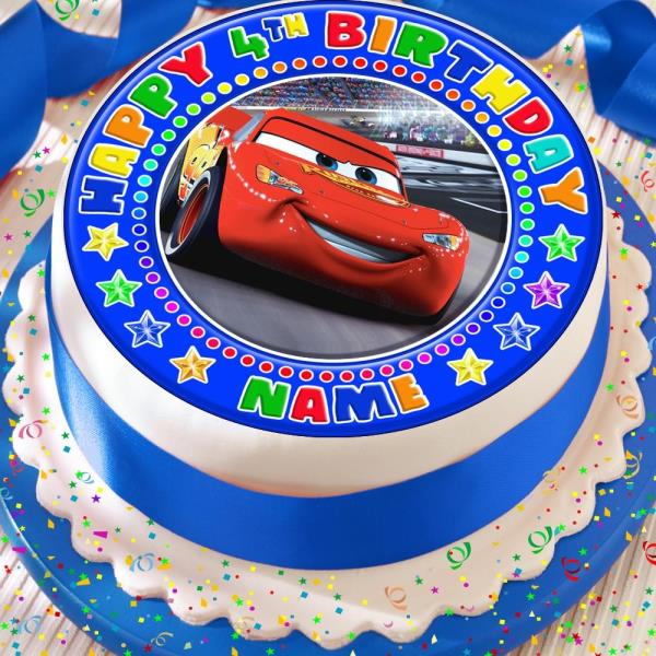 Astounding Cars Lightening Mcqueen Precut Edible Happy Birthday Cake Topper Funny Birthday Cards Online Alyptdamsfinfo