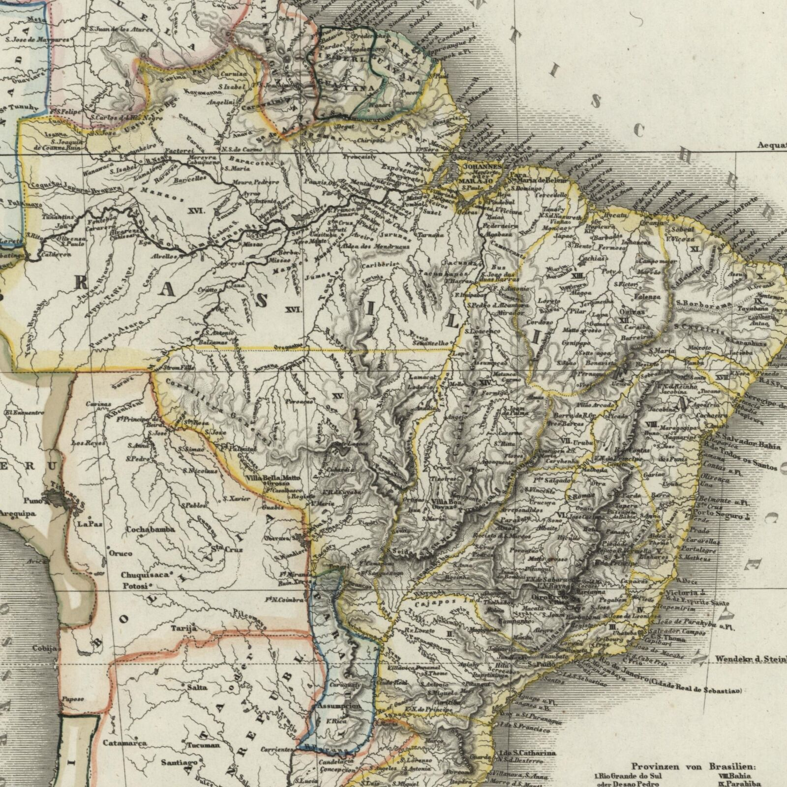 Detailed Map Of America.South America Brazil Uruguay Paraguay 1851 Radefeld Detailed Map Ebay