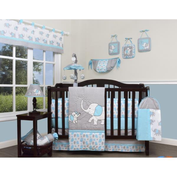 Blue Gray Elephant 13 Pcs Crib Bedding Set Baby Boy Nursery Quilt