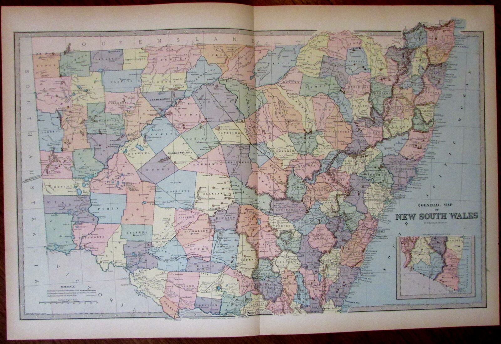Picture of: New South Wales Australia Huge Antique Map 1888 By Macdonald Detailed Scarce Ebay