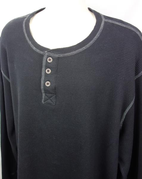 Northwest Territory Men/'s Thermal Henley Shirt 3 Button LS NWT Blue Striped