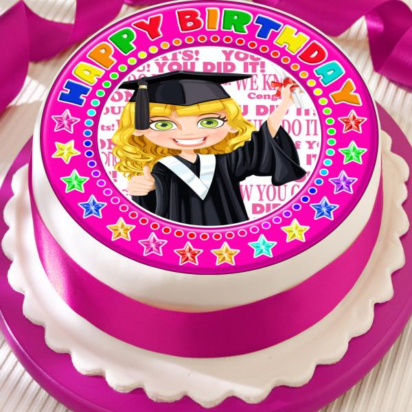 CONGRATULATIONS PINK BORDER 7.5 INCH PRECUT EDIBLE CAKE TOPPER DECORATION