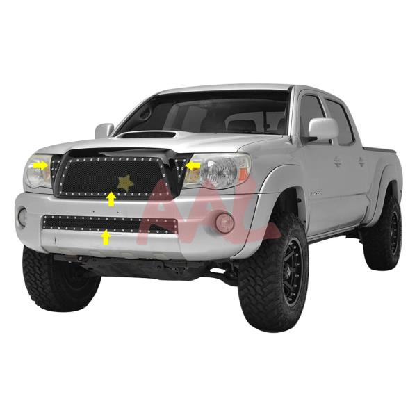 APS Compatible with 2005-2010 Toyota Tacoma Black Stainless Steel Mesh Grill Combo N19-H67877T