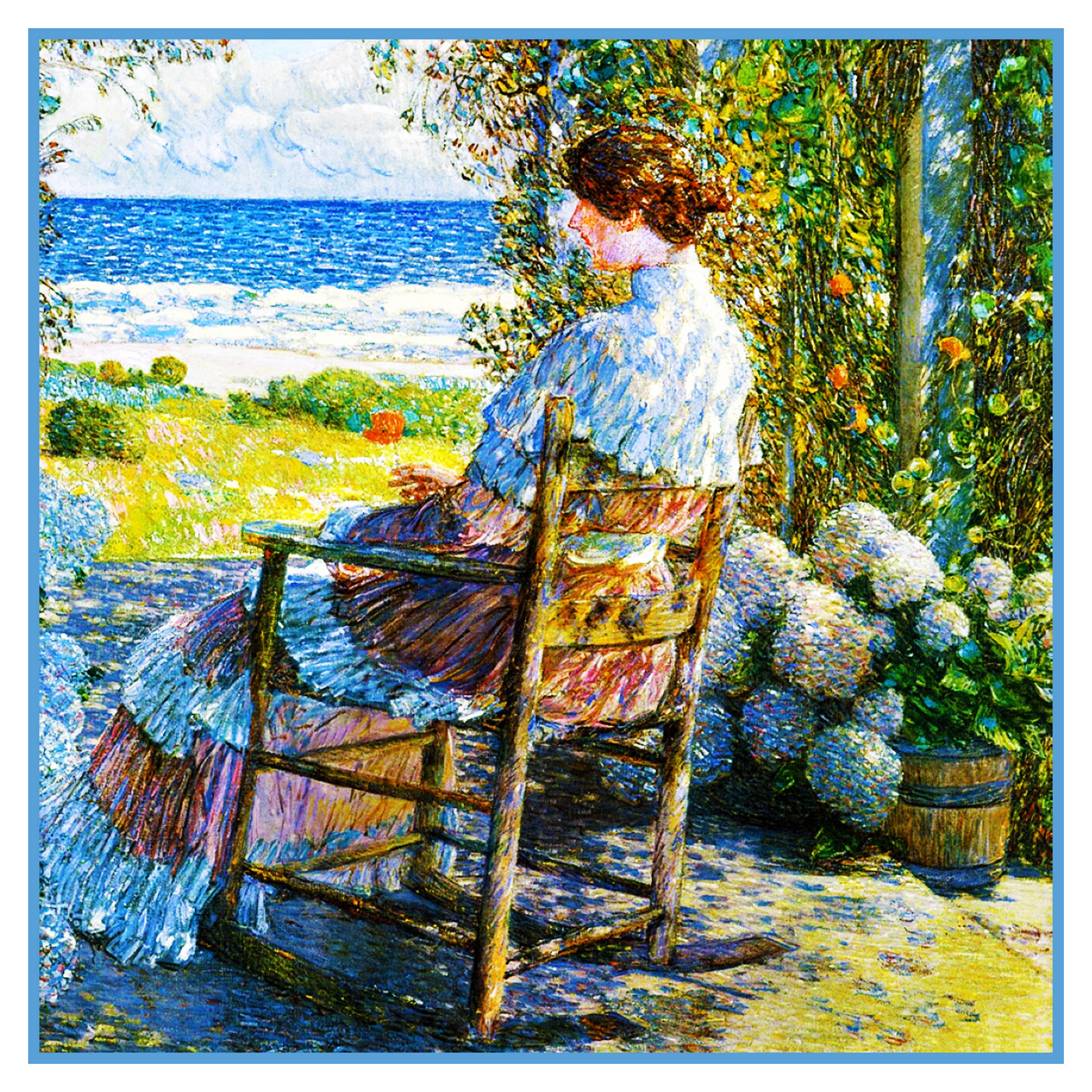 Impressionist Childe Hassam Poppies Flowers Counted Cross Stitch Chart Pattern