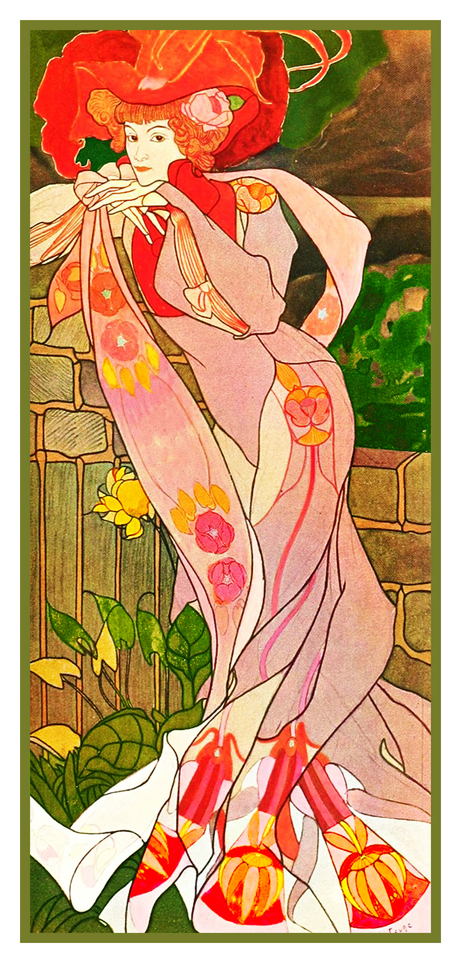 cross stitch chart also available as A4 glossy print ART NOUVEAU LADY