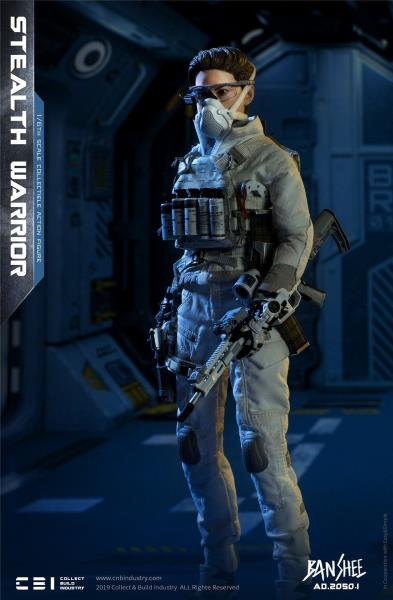 White Futuristic Pants 1//6 Scale Toy Banshee Stealth Warrior Light Version