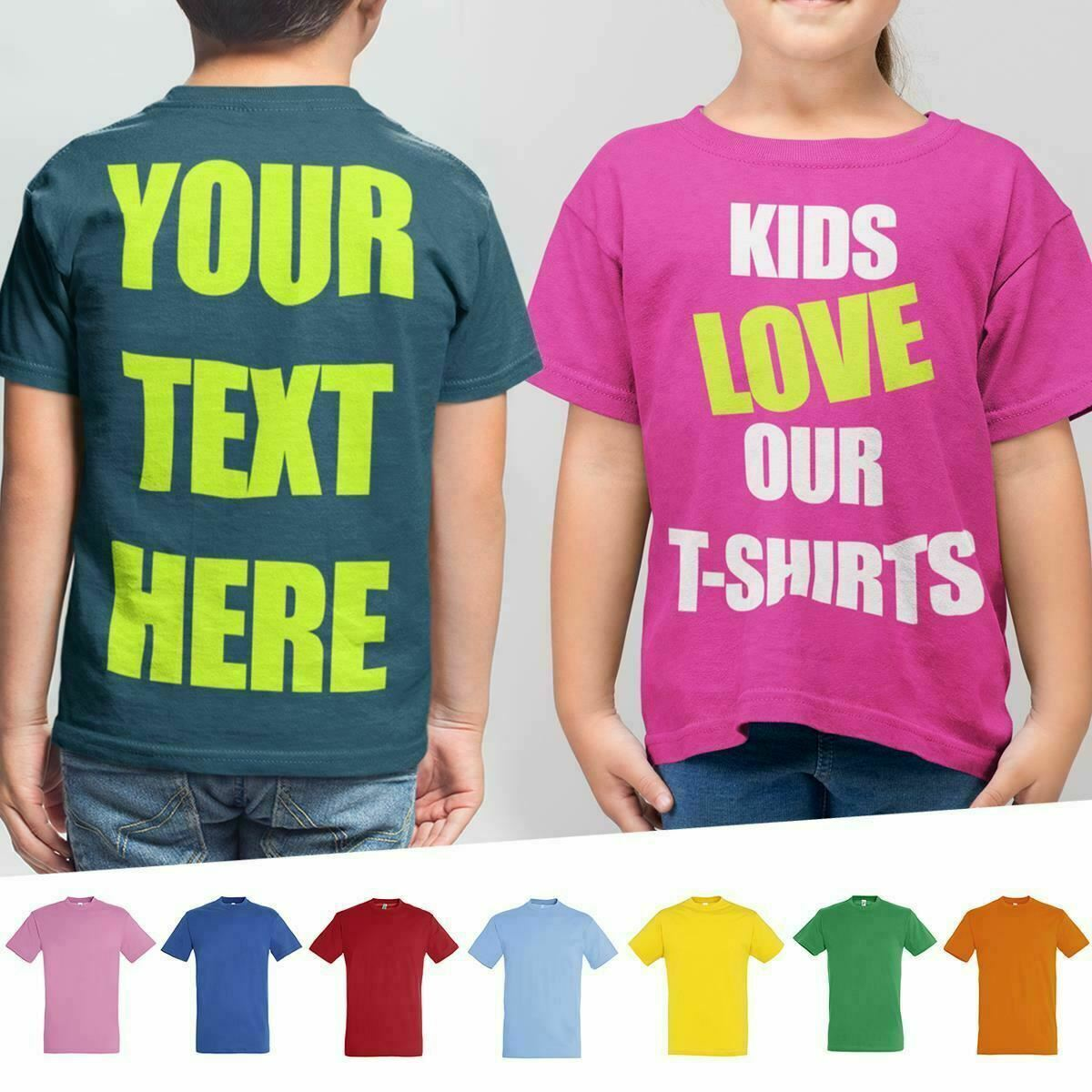 New Custom Printed Text Boys or Girls Personalised Childrens Cotton T-Shirts Tee