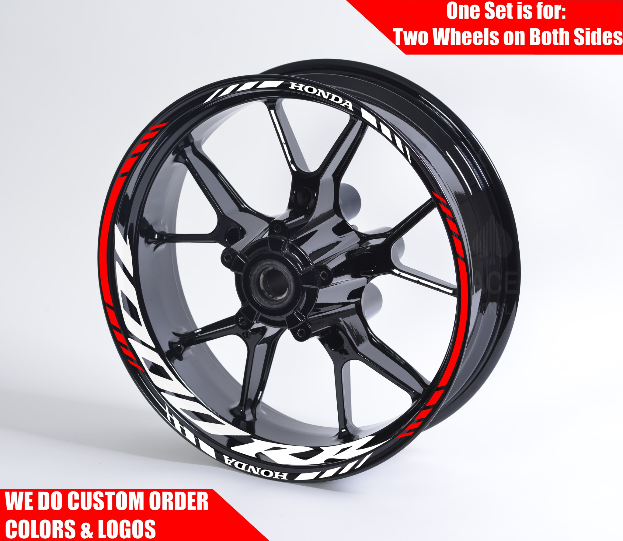 Gloss Red Motorcycle Rim Wheel Decal Accessory Sticker for Honda CBR 1000
