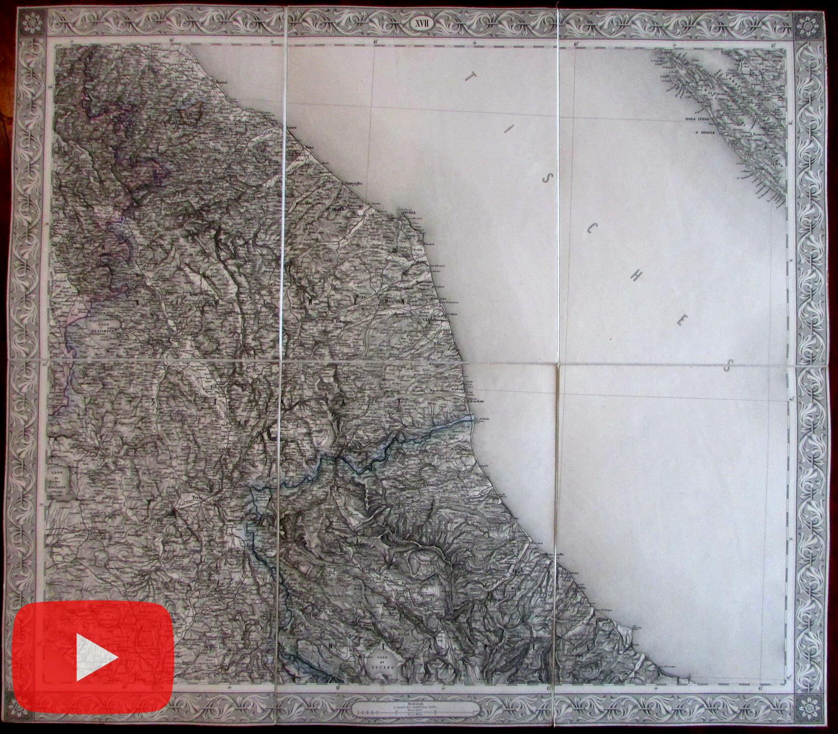 Central Italy 1858 Scheda linen-backed large map Rome to Ancona Adriatic    eBay