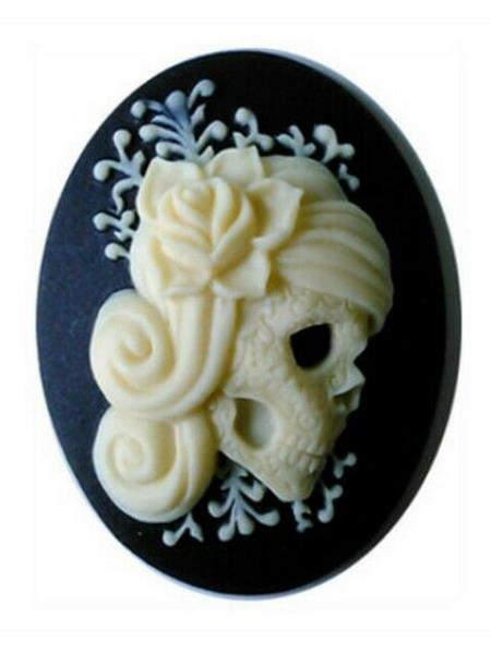 40x30mm Fairy Skull Black Ivory Resin Cameo wicca  cosplay cabochon