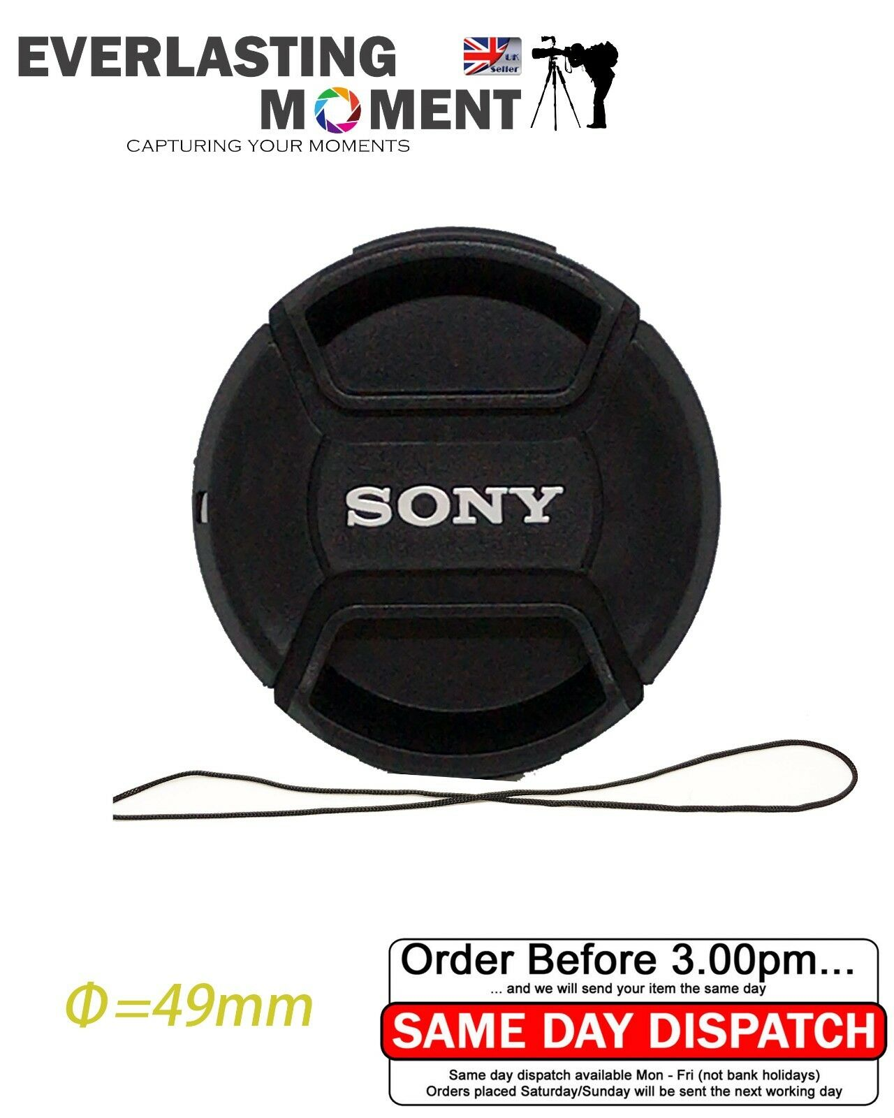 49mm Centre Pinch lens cap for Sony Alpha Lens with 49mm filter thread UK SELLER