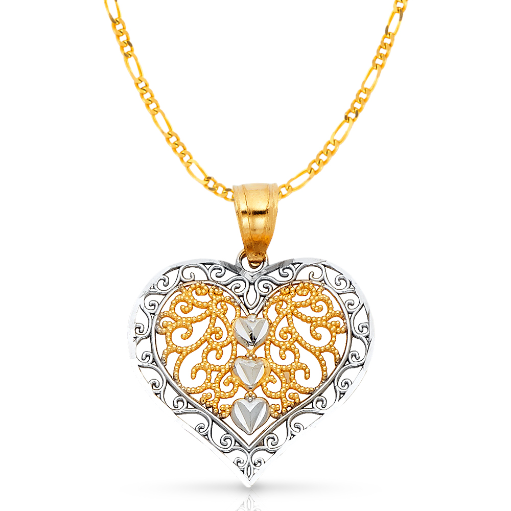 14K Two Tone Gold Fancy Heart Charm Pendant with 2mm Figaro 3+1 Chain Necklace