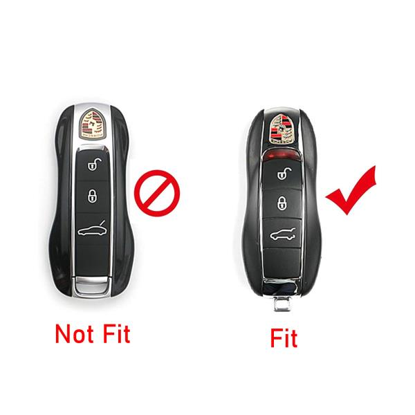 White Rolling Gears Remote Key Fob Shell Cover and Key Button Rubber Compatible with Porsche Cayenne and Macan Key Fob