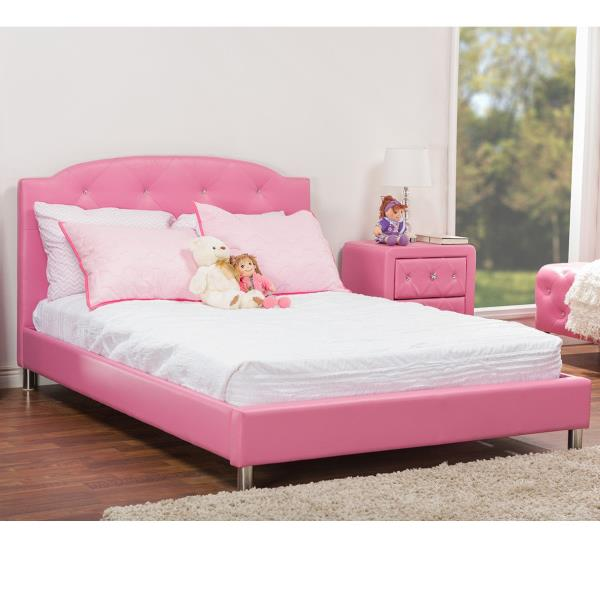 Pink Upholstered Platform Bed Frame Faux Leather Fabric Full Queen Size Bedroom Ebay