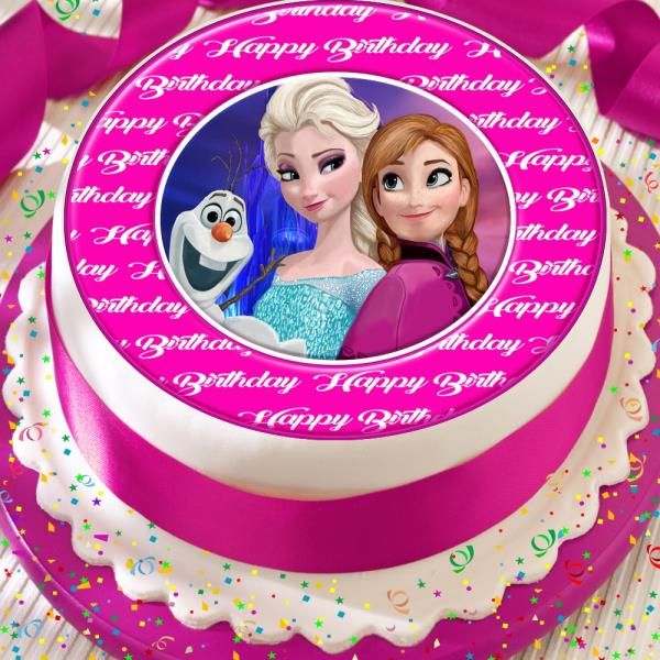 Astounding Frozen Elsa Anna Olaf Precut Edible Happy Birthday Cake Topper Funny Birthday Cards Online Elaedamsfinfo