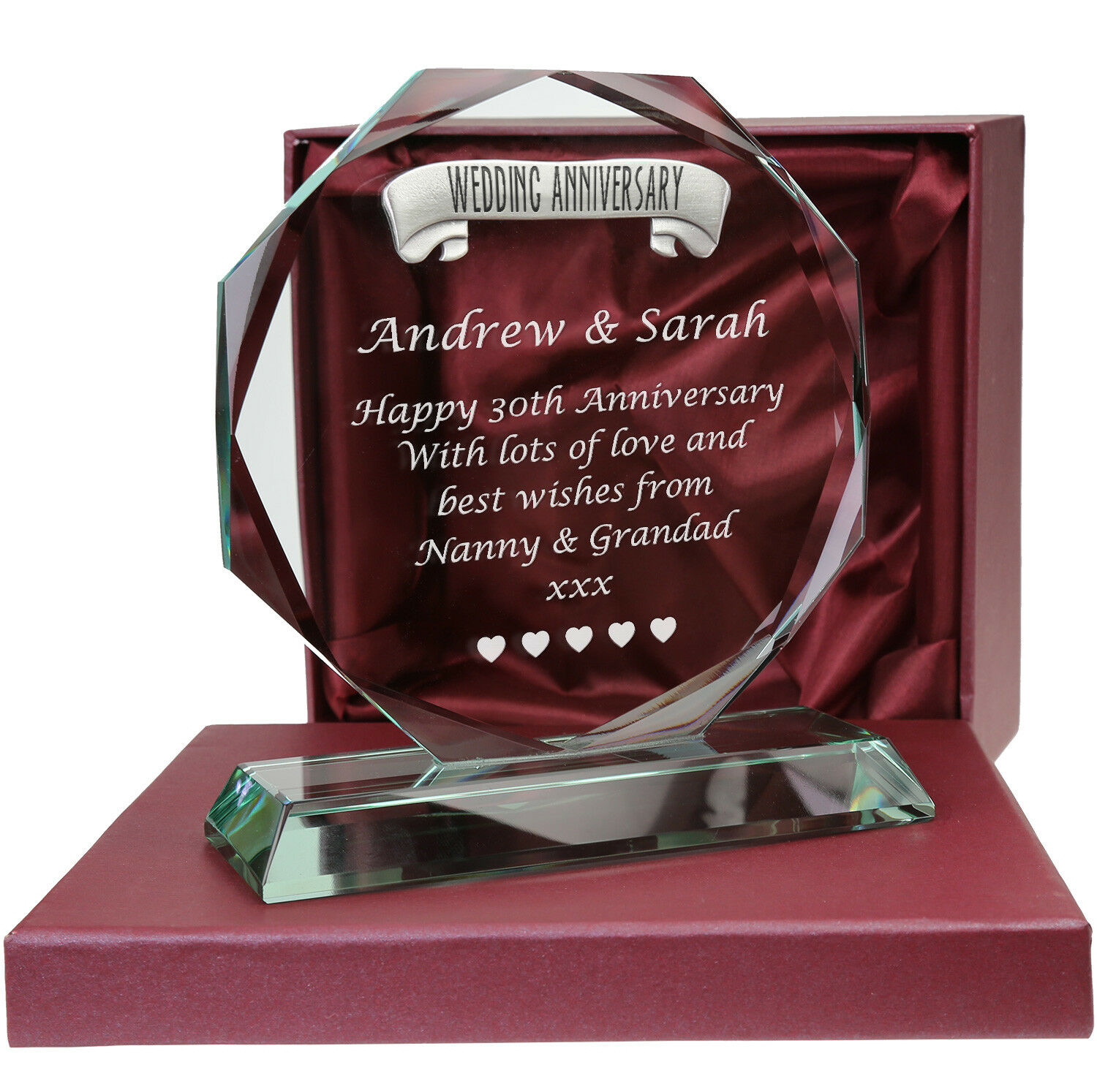 30th Pearl Wedding Anniversary Pewter Feature Engraved Glass Gift 30 Years Gifts 5060498082990 Ebay