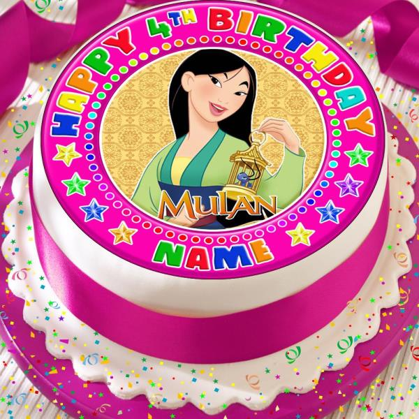 Swell Mulan Happy Birthday Personalised Pink 7 5 Inch Precut Edible Cake Funny Birthday Cards Online Bapapcheapnameinfo