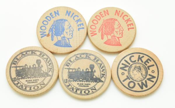 Rocky Mountain Auto >> Details About Set Of 5 Advertisement Wood Chips Nickel Town The Station Rocky Mountain Auto