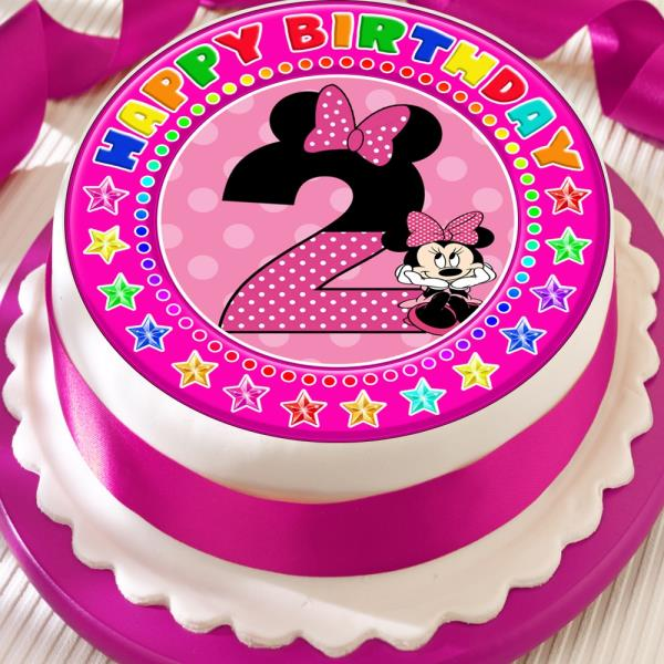 Remarkable Minnie Mouse Age 2 2Nd Birthday Precut Edible 7 5 Inch Cake Topper Funny Birthday Cards Online Aboleapandamsfinfo