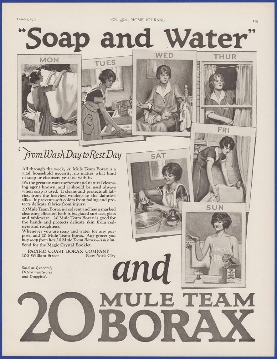 20 Mule Team brand Borax vintage cleaner ad poster repro 24x16