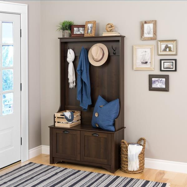 Marvelous Details About Espresso Finish Wood Hall Tree Coat Rack Hat Hooks Storage Stand Entryway Bench Dailytribune Chair Design For Home Dailytribuneorg