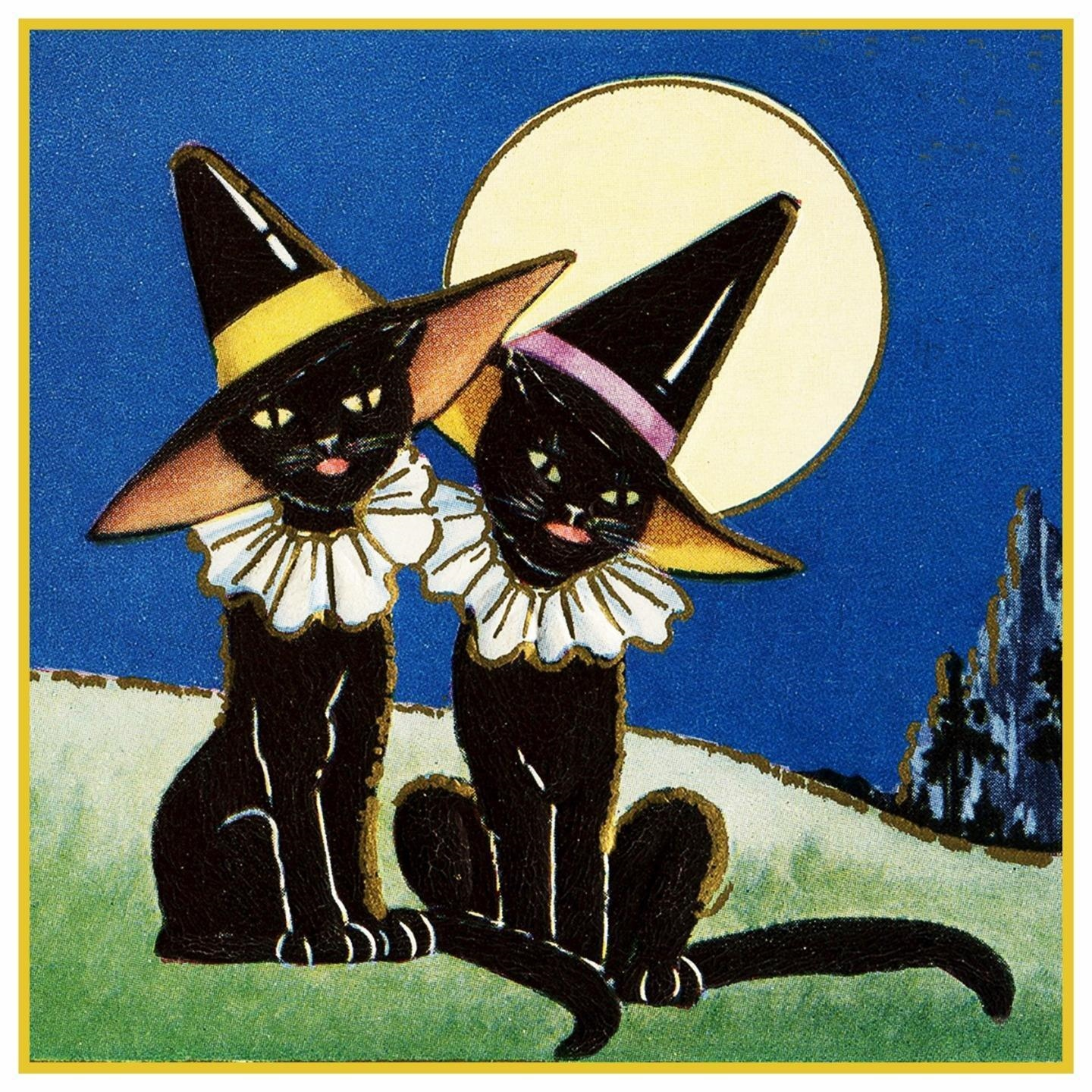 Halloween Scene # 457 Red Witch Moon Black Cats Counted Cross Stitch Pattern