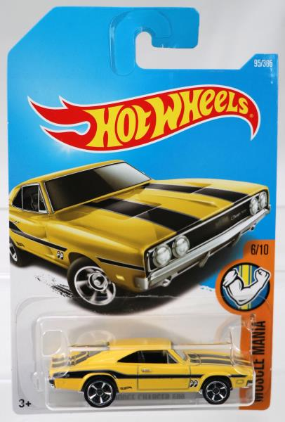 /'69 Dodge Charger 500 Black//Yellow 1969-Hot Wheels-muscle Mania Card