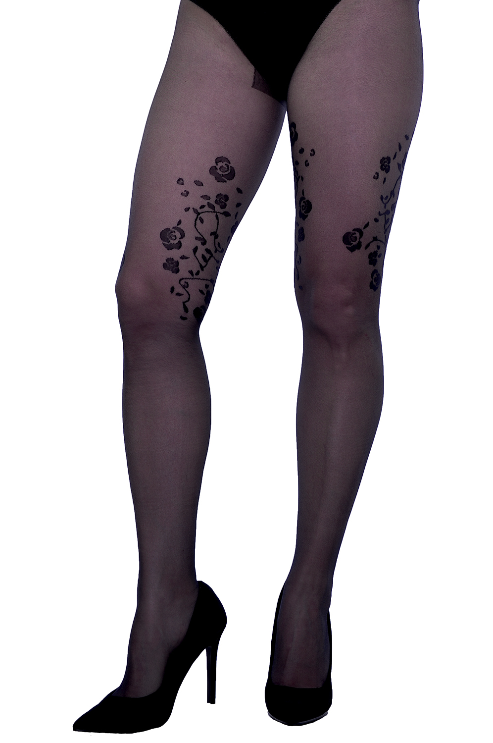 Sheer nude mock stockings butterfly pattern party tights Cypria 20 den
