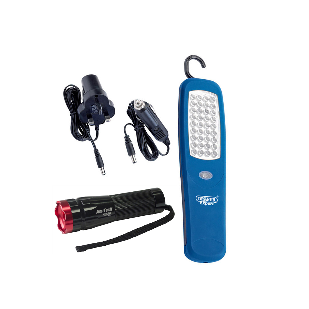 DRAPER 1W LED RECHARGEABLE TORCH c//w MAINS /& CAR CHARGERS 48 LUMEN = 37 LED