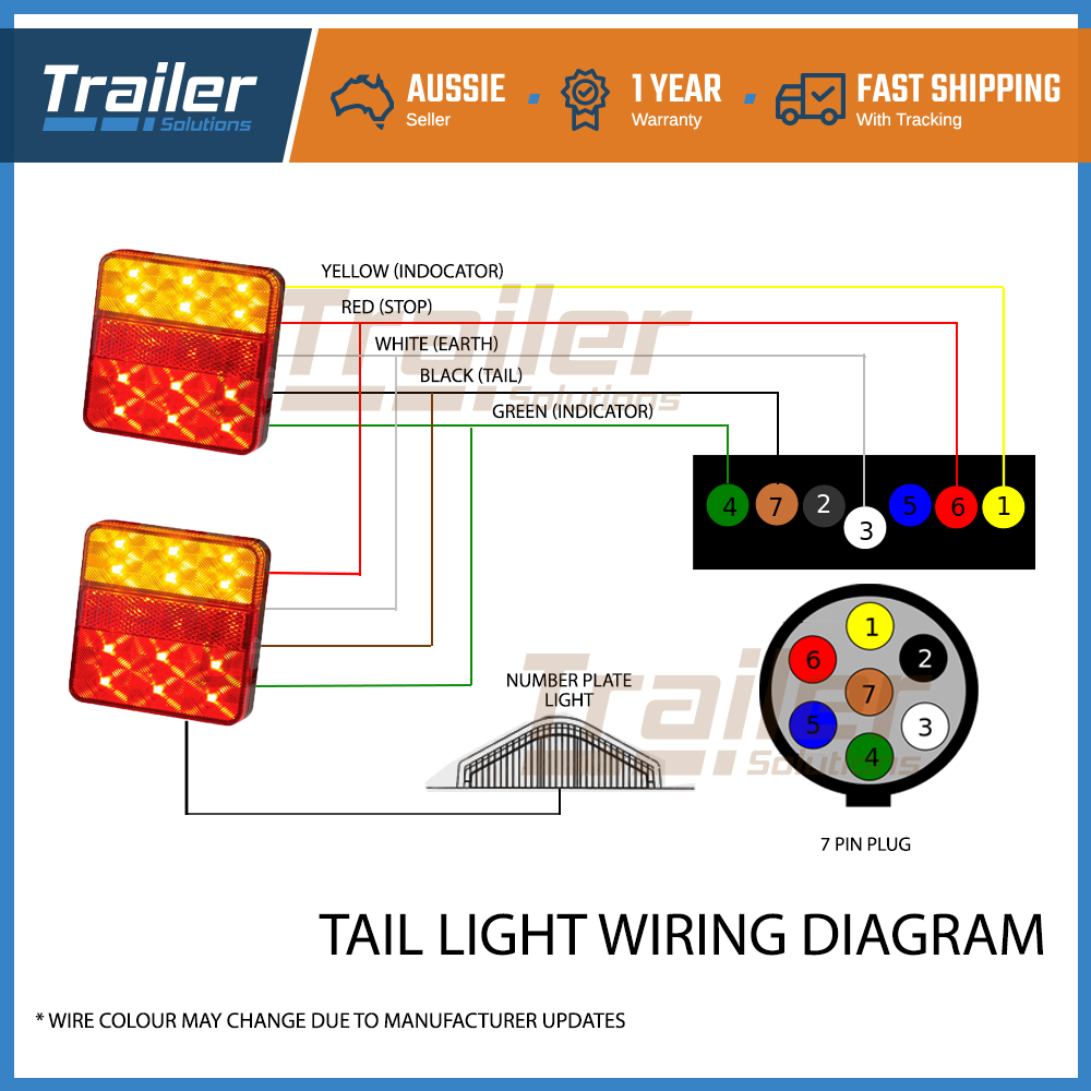 Pair Of 12 Led Trailer Lights Kit 1x Number Plate Plug 8m X 5 Core Cable 12v Ebay