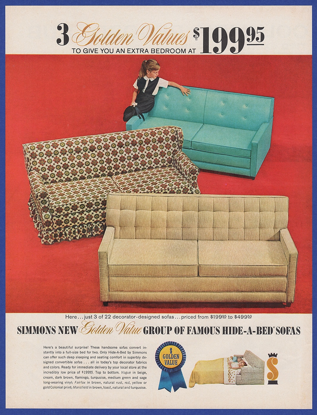 Miraculous Details About Vintage 1963 Simmons Golden Value Hide A Bed Sofa Furniture Decor Print Ad 60S Creativecarmelina Interior Chair Design Creativecarmelinacom