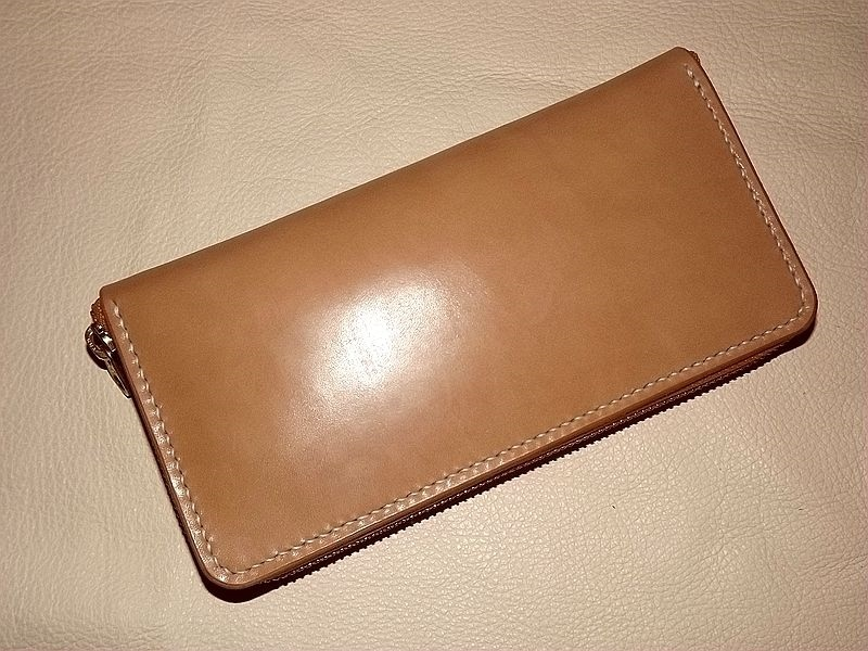 hand made japan tochigi leather wallet with silver studs for birthday gift