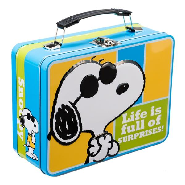 Peanuts Snoopy as Joe Cool Large Carry All 2 Sided Tin Tote Lunchbox NEW UNUSED
