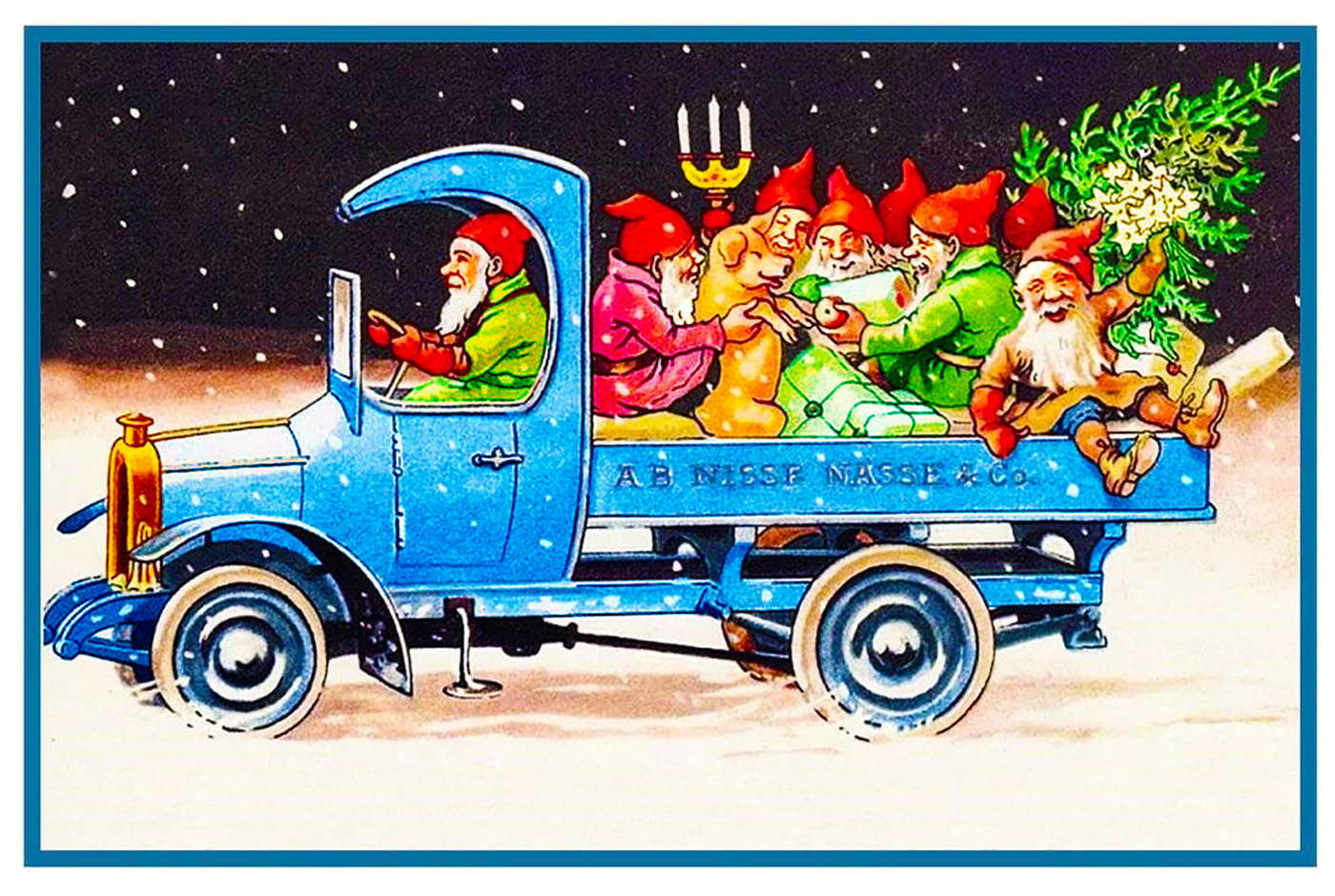 Swedish Jenny Nystrom Gnomes Elves Presents Truck Counted Cross Stitch Pattern