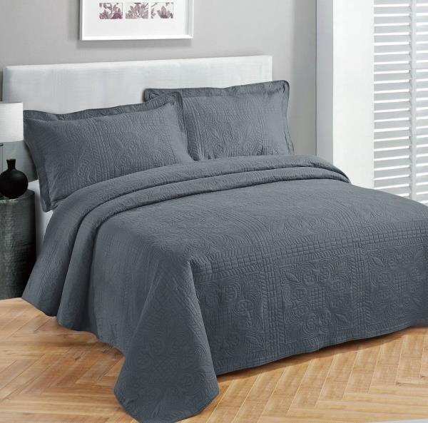 Twin XL Full Queen Cal King Bed Solid Gray Grey Soft 3 pc Comforter Set Bedding
